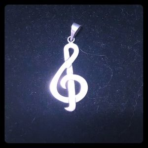 Treble clef silver charm